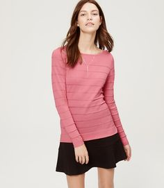 Coral pink shadow striped sweater