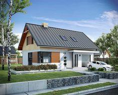 Projekt domu z poddaszem Trypolis 2 o pow. 106,3 m2 z garażem 1-st., z dachem dwuspadowym, z tarasem, sprawdź! Concept Home, Pool Houses, Exterior Design, Home Projects, Bungalow, House Plans, Villa, Outdoor Structures, House Design