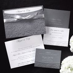 Wedding, White, Blue, Invitations, Silver, Grey, Gray - Project Wedding