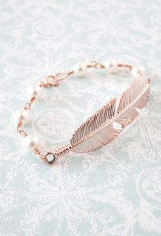 Rose Gold Feather Bracelet - Swarovski pearl beaded, rose gold filled chain, gifts for her, garden, bird feather, everyday pretty, www.colormemissy.com
