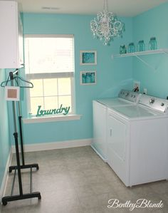 Tiffany Blue Laundry Room Bentleyblonde House Tour
