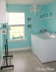 Tiffany Blue Laundry Room | BentleyBlonde House Tour