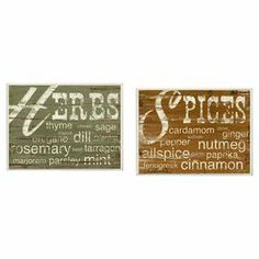 """Culinary-themed wall decor with a typographic motif.   Product: 2-Piece wall decor setConstruction Material: Engineered woodFeatures:  Lithograph mounted on fiberboardCovered bordersReady to hangMade in the USA Dimensions: 11"""" H x 15"""" W x 1"""" D each"""