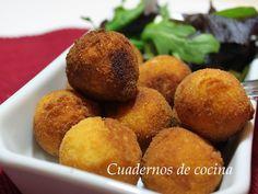 Bolitas de patata y pescado Albondigas, Cornbread, Microwave, Muffin, Breakfast, Ethnic Recipes, Food, Microwaves, Hamburgers