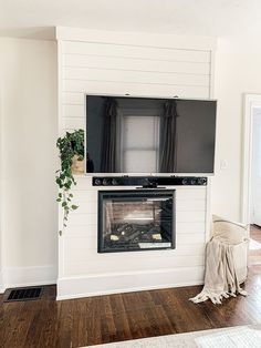 Dimplex Fireplace, Diy Fireplace Mantel, Fireplace Tv Wall, Build A Fireplace, Fireplace Update, Fireplace Built Ins, Shiplap Fireplace, Fireplace Ideas, Recessed Electric Fireplace