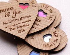 Wood Save the date, Wooden save the dates, Rustic Save the date ,Heart wedding magnets, coloured heart save the date The Wedding Date, Wedding In The Woods, Wedding Ideas, Blue Wedding, Rustic Wedding, Cnc, Save The Date Magnets, Save The Date Cards, Wedding Favours