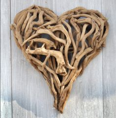 Driftwood heart. Sounds like a country song; but it's really just a heart made out of driftwood.