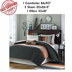 3 Piece Twin XL Orange Olive Green Striped Comforter Set, Geometric Pattern Featuring Grey Stripes, Modern Circuit Design, Vibrant Colorful Bedding for Boys, Rectangle Blocks Patchwork College Bedding Sets, Dorm Room Bedding, College Comforter, Bed Duvet Covers, Duvet Cover Sets, Urban Bedding, Modern Bedding, Guy Dorm Rooms, Kids Rooms