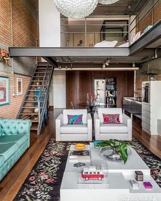 Loft in Brazil #brazil #loft #apartment #livingroom #interior #interiors #interiordesign #design #architecture #decor #contemporary