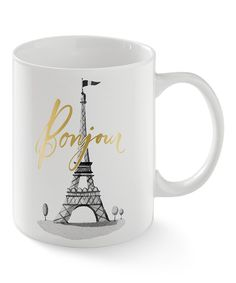 8.99 Another great find on #zulily! Gray & Gold 'Bonjour' Eiffel Tower Mug by Fringe Studio #zulilyfinds