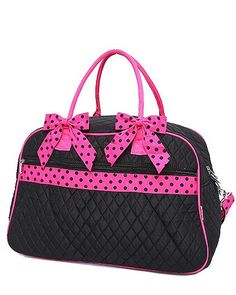 Black and Fuschia Large Monogrammable travel duffle bag – The Mommy Boutique