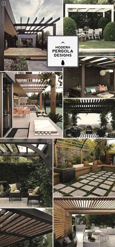 Here are some design notes when it comes to modern pergola designs. The most common pergola design is to have decorative and somewhat rounded ends on the beam. The easiest way of creating a more modern pergola is to do away with the decorative ends. Outdoor Rooms, Outdoor Gardens, Outdoor Living, Outdoor Decor, Outdoor Sheds, Rustic Gardens, Backyard Patio, Backyard Landscaping, Patio Wall