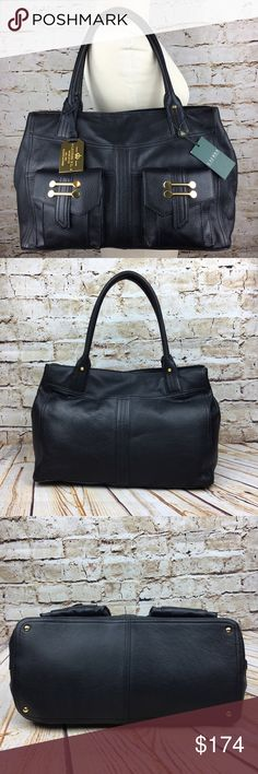 "NWT Ralph Lauren Bermondsey black leather handbag NWT $348 Ralph Lauren Bermondsey lightly pebbled black genuine leather handbag. Features 2 front exterior pockets, gold toned hardware, RL signature fabric lining interior, and magnetic closure. One large zippered interior pocket and two multi-function pockets. Measures approximately 15""L x 7""W (across bottom of bag) x 9.25""H + 8"" handles. Ralph Lauren Bags Satchels"