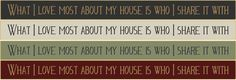 """What I Love Most About My House Is Who I Share It With 18""""  Wood  Sign"""