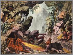 Bouwplaat in kleur van een papieren theater voorstellende een uitgeknipt achterdoek met bostafreel met dieren en fabeldieren, waaronder draak, slang everzwijn, uil - Memory of the Netherlands - Online image database of archives, museums and libraries