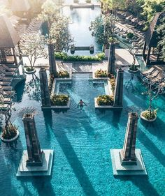We're suckers for good hotel pool design. That's what this post is all about as we take a look at 5 unique pool designs from luxury hotels from all over the globe. Love the architectural innovation being showcased here. The Sofitel Bali Nusa Dua Vacation Places, Dream Vacations, Vacation Spots, Places To Travel, Travel Destinations, Swimming Pool Designs, Swimming Pools, Beach Resorts, Hotels And Resorts