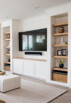 Built In Shelves Living Room, Basement Living Rooms, Living Room Wall Units, Home Living Room, Living Room Designs, Living Room Decor, Built In Tv Wall Unit, Bedroom Wall Units, Tv Wall Shelves