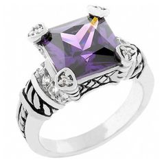 Phylicia's Amethyst Princess Shape CZ Cable Ring ($10) found on Polyvore