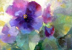Tina Wassel Keck. Not a big lover of floral paintings, but I like the colors in this. And I'm a sucker for pansies.