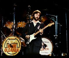 """1987, Japan   Playing the world's most famous guitar, Clapton's """"Blackie"""", which he made out of 3 different Stratocasters."""