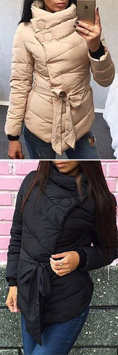 Let me give your more warmth, just hold me tight. The Hello My Baby Coat features side zipper and tied rope design,three colors for your choice. Be your own queen at CUPSHE.COM !