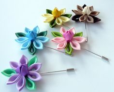 Kanzashi fabric flower brooch . Kanzashi flower lapel by JuLVa