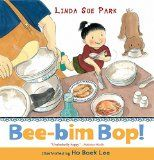 book a hungry girl helps her mother make Bee-Bim Bop!, a traditional Korean rice dish. In bouncy rhyming text coupled with whimsical illustrations the story tells of shopping, preparing ingredients, setting the table, and sitting down to enjoy a favourite meal with the family. The book include