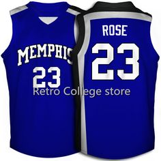 6902f23ef1c Derrick Rose Memphis Tigers White Blue Retro College Basketball Jersey  Embroidery Stitched Customize any size and name