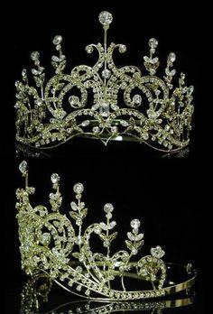 Leaey-Spray Tiara 1905 English Rhinestone gold Crown Bridal Princess Tiara