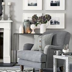 Warm lightgrey living room with cosy armchair and knitted cushion Ideal Home is part of Blue room decor After living room ideas Take a look at this smart grey space with cosy touches for inspirat - Home Living Room, Room Design, Blue Rooms, Cosy Armchair, New Living Room, Room Inspiration, Living Room Grey, Living Decor, Gray Living Room Design