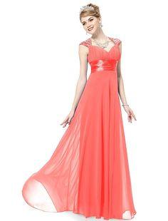 Ever Pretty Chiffon Sexy V-neck Ruched Empire Line Evening Dress