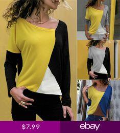 Women's Shirt Casual Patchwork Color Block Long Sleeve T-Shirt Blouse Basic Tops Crop Top Shirts, Shirt Blouses, Tee Shirts, Cardigan Sweaters For Women, Long Sleeve Sweater, Casual Tops, Casual Shirts, Calvin Klein Jeans Women, Basic Tops