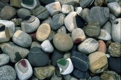 Pamela Paulsrud - Touchstones. What looks like pebbles are actually small books.