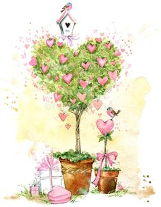 Stock Illustration – illustration of a rose in love: 64952012 – Happy Valentine's Day Cards Valentine Tree, Valentines Art, Vintage Valentines, Art Floral, Watercolor Trees, Watercolor Paintings, Pink Painting, Valentines Watercolor, Art Fantaisiste