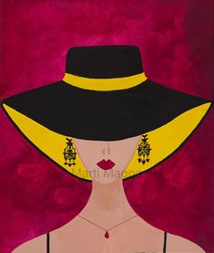 Black Hat or Fedora, Sun Hat on Lady, with Black Spaghetti straps, Print of Original Painting, Hand Painted Original, Red Background