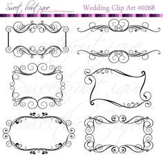 BLACK Digital Flourish Swirl Border Frame Ornate Clip Art Swirl Frame ClipArt Scrapbooking Embellishment Wedding Invitation 0268