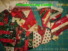 El Atelier de Aroa: Técnica Log Cabin paso a paso Tree Skirts, Christmas Tree, Cabin, Quilts, Blanket, My Love, Holiday Decor, Home Decor, Scrappy Quilts