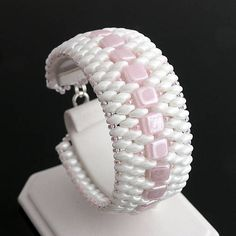 Beaded bracelet - czech tile and superduo beads http://www.sashe.sk/kacenkag/detail/baby-pink