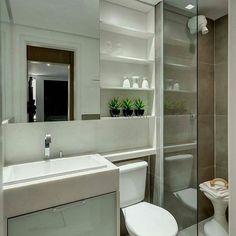 Banheiro do dia! Amamos o destaque do box com o marrom  ____ #inspiraçao #SabendoDecor
