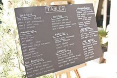 This could be your seating chart! Looks like an old school chalkboard to me… how fitting for two teachers!!  Style Me Pretty   Gallery   Picture   #287546