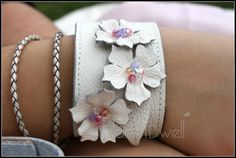 Feminine Floral White Leather Cuff Contemporary by PlanetDwell, $75.00