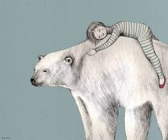 Neus illustration by Neus Lozano polar bear and a boy in striped pyjamas Bear Art, Children's Book Illustration, Art Plastique, Illustrators, Spirit Animal, Graphic Art, Street Art, Poster, Sketches