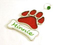 Dog Paw Print  Personalized Pet Christmas by LakeSideStainedGlass