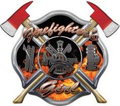 Firefighters Girl Inferno Maltese Cross Decal with Axes