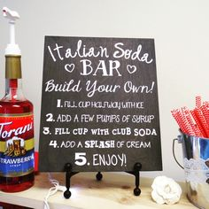 Movie Night Ideas Discover Your place to buy and sell all things handmade Italian Soda Bar Wedding Sign Wedding Signs Italian Wedding Italian Soda Bar, Italian Party, Italian Dinner Parties, Italian Themed Parties, Italian Wedding Favors, Unique Wedding Favors, Wedding Ideas, Wedding Photos, Soda Recipe