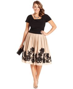 SL Fashions Plus Size Dress, Short-Sleeve Cowl-Neck Full-Skirt - Plus Size Dresses - Plus Sizes - Macy's
