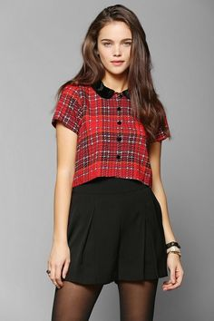 Motel Andy Plaid Cropped Blouse