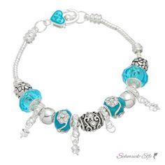 Armband Charms & Beads Himmelblau  KLEEBLATT  im...