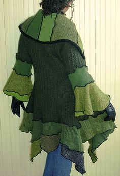 I love the lines and the different-ness of this recycled sweater coat by Brenda Abdullah Sweater Coats, Wool Sweaters, Pullover Upcycling, Recycled Sweaters, Sweater Refashion, Recycled Fashion, Recycled Clothing, Altered Couture, Poncho