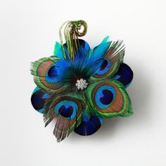 Peacock Feather Headpiece with Feather Spray and Rhinestone Detail